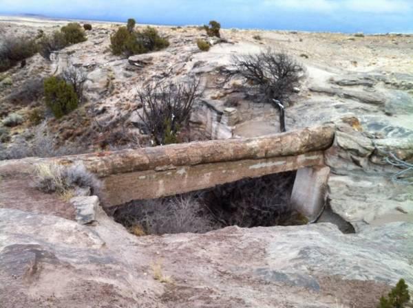 Cầu Agate là một thân cây hóa thạch có dạng cây cầu bắc qua sông. Năm 1920, cầu Agate được gia cố bằng bêtông để chống sụp đổ - Ảnh: wp