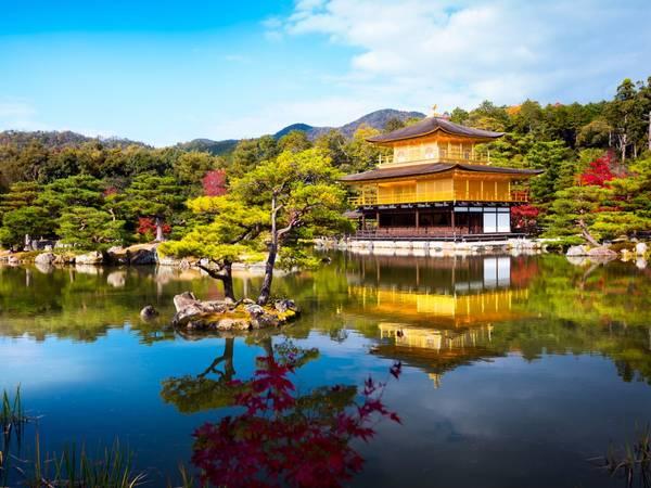 Một trong những ngôi đền nổi tiếng nhất là đền dát vàng Kinkaku-ji nằm yên ả trên mặt hồ… - Ảnh: Patrick Foto / Shutterstock