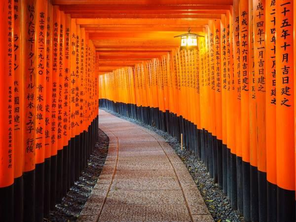... hay những cánh cửa đỏ rực tâm linh dẫn đến khu thờ chính trên núi Fushimi Inari Taisha của khu đền Inari. (Ảnh: lkunl / Shutterstock)