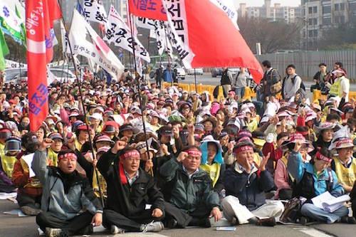 Biểu tình là điều thường thấy ở Hàn Quốc với rất nhiều phương pháp: từ ôn hoà đến bạo lực, hay cả những cách thức vô lý như cắt ngón tay, ném phân động vật hay để ong phủ kín người. Ảnh: rabble.