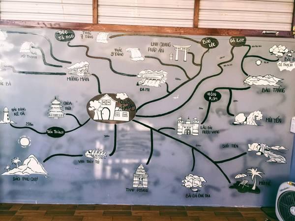Một bức tường được thiết kế như một tấm bản đồ chỉ đường đến những điểm du lịch xung quanh.