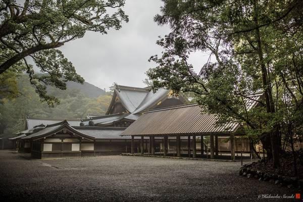 Vẻ đẹp của Ise Jingu chìm trong sương sớm.