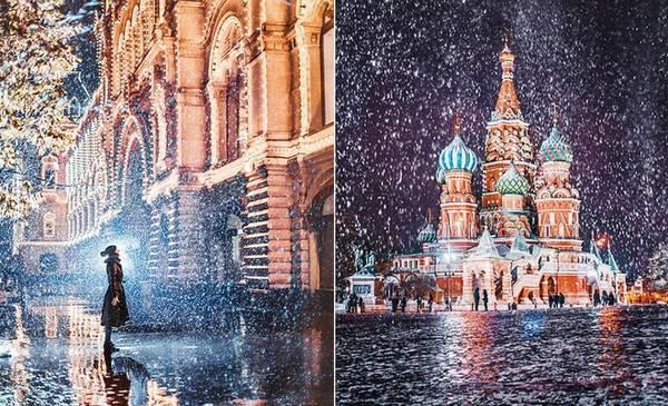 Người phụ nữ đang đứng trước GUM (ảnh trái), một trung tâm mua sắm ở Moscow, ảnh phải là nhà thờ thánh Basil.