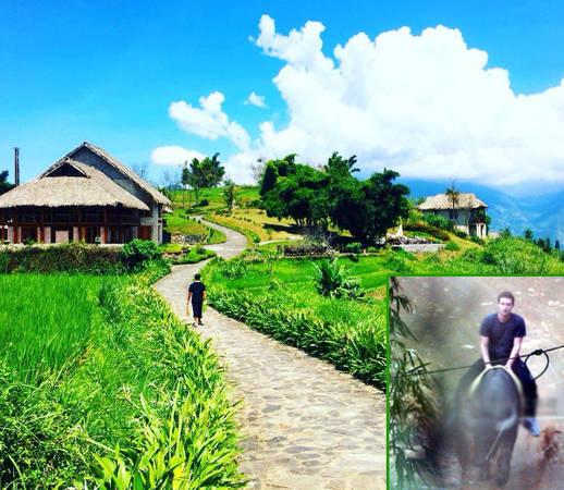 Khu nghỉ Topas Ecolodge có nhiều ngôi nhà nhỏ xinh trên sườn đồi thoai thoải. Người điều hành Facebook cưỡi trâu ở Sapa dưới sự trợ giúp của người dân bản địa.