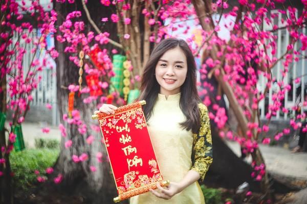 Phương Anh (24 tuổi) cho biết cô rất thích hoa đào và thấy khung cảnh Sài Gòn năm nay rất đẹp, thời tiết mát mẻ, dễ chịu nên tìm tới đây chụp ảnh.
