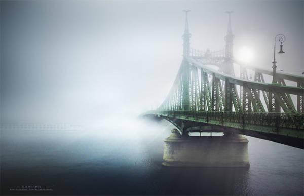 Sương che khuất nửa cây cầu ở Budapest