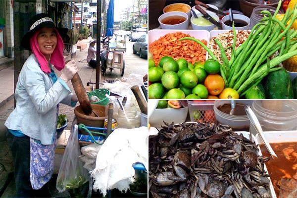 Xe đẩy bán som tam đặc trưng trên đường phố Thái Lan.