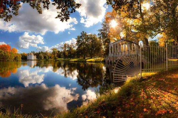 """Đặc trưng của Saint Petersburg là """"đêm trắng"""" vào cuối tháng 6 hằng năm. Còn nếu đến Saint Petersburg vào mùa thu, bạn sẽ tận mắt chứng kiến """"mùa thu vàng"""" đẹp hơn trong tranh của Levitan."""