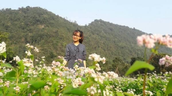 Nhiều du khách tỏ ra bất ngờ khi Ninh Bình cũng có hoa tam giác mạch và được trồng với quy mô lớn, khoảng 500 m2.