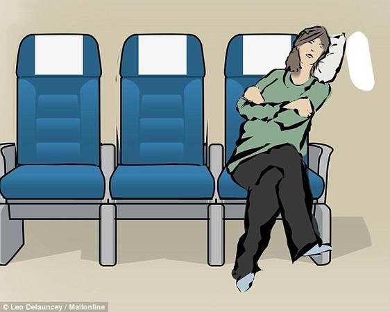 Ngiêng về phía cửa sổ: Lợi thế vững chắc của thân máy bay khiến nghiêng về phía cửa sổ là tư thế tốt để ngủ. Dù có gối hay không, nghiêng vào vách cabin luôn khiến du khách có chỗ dựa để chợp mắt mà không gây phiền đến ai.