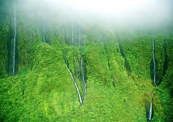 """Thác Wall of Tears, đảo Maui: Mang cái tên rất nên thơ, thác """"Bức tường nước mắt"""" được hình thành với 17 dòng thác đổ xuống vách đá. Wall of Tears nằm ở tít sâu trong dãy núi Tây Maui, gần đỉnh Pu'u Kukui. Bạn nên chiêm ngưỡng tổ hợp thác nước này từ trực thăng để nắm được trọn vẹn vẻ đẹp mỹ lệ của chúng. Ảnh: Jurvetson."""
