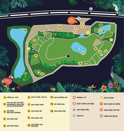 Bản đồ của FLC Zoo Safari Park. Ảnh: FLC Safari