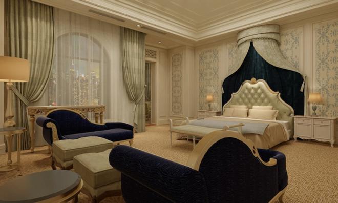 Nếu du khách muốn có cảm giác như công chúa Disney, phòng Tổng thống sẽ là sự lựa chọn phù hợp với giá khởi điểm 361 triệu đồng mỗi đêm.