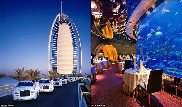 Burj Al Arab có đội xe Rolls Royces phục vụ khách hàng. Ngoài ra, bạn còn có thể ăn tối ở nhà hàng được đặt quanh bể thủy sinh khổng lồ.