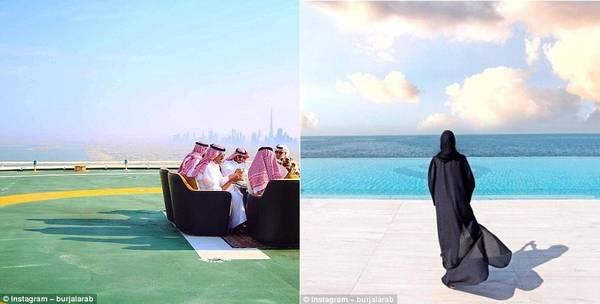 Trong ảnh trái, một sheikh (tộc trưởng) dùng bữa cùng khách mời trên bãi đỗ trực thăng của khách sạn. Trong ảnh phải, một vị khách đang ngắm nhìn bể bơi tuyệt đẹp của Burj Al Arab.