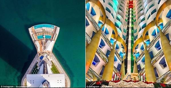 Mặt tiền của khách sạn nhìn từ trên cao (ảnh trái) và khu sảnh ấn tượng (ảnh phải) khiến du khách choáng ngợp.