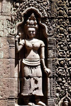 Bức phù điêu còn sót lại nguyên vẹn tại đền Wat Phou