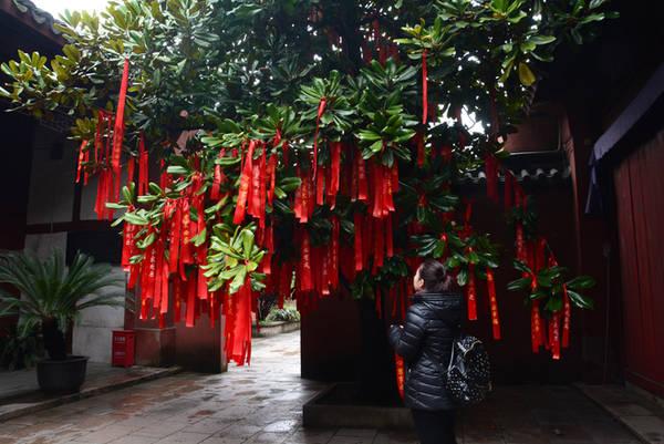 Sân miếu có nhiều cây ước nguyện được du khách viết lên dải lụa đỏ và treo lên, cầu bình an, may mắn.