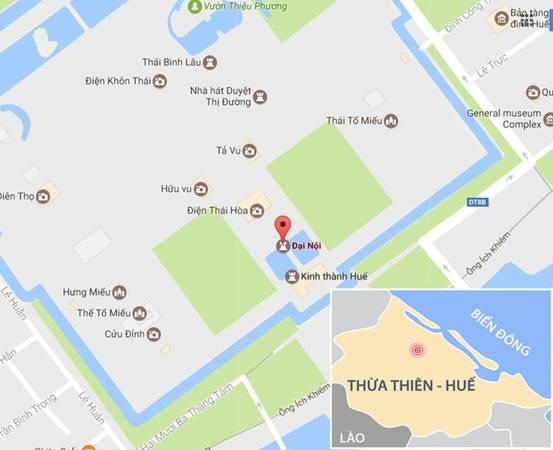 Khu vực Đại nội - Kinh thành Huế. Ảnh: Google Map.
