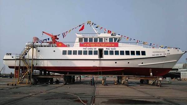Tàu Thổ Châu 09 đóng mới trước giờ hạ thủy - Ảnh: Công ty đóng tàu 189