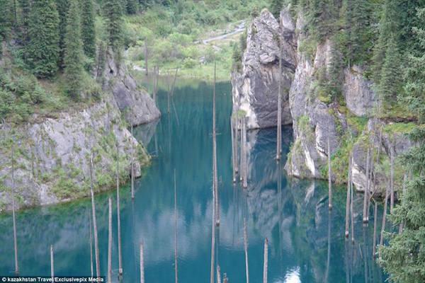 Những cây gỗ nổi trên mặt nước được ví như cột buồm của những con tàu ma, người khác lại liên tưởng tới ngọn giáo của đội quân ẩn nấp dưới lòng hồ, chờ đợi cơ hội xuất hiện.