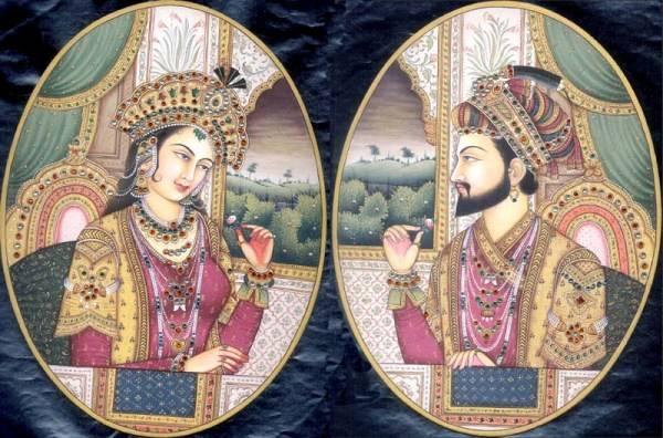 Vua Shah Jehan và hoàng hậu Mahal Mumtaz