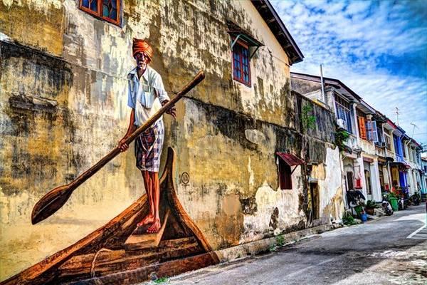 Phố cổ George Town ở đảo Penang.