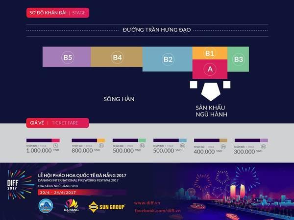 Sơ đồ khán đài lễ hội pháo hoa quốc tế Đà Nẵng 2017. Ảnh: FB diff