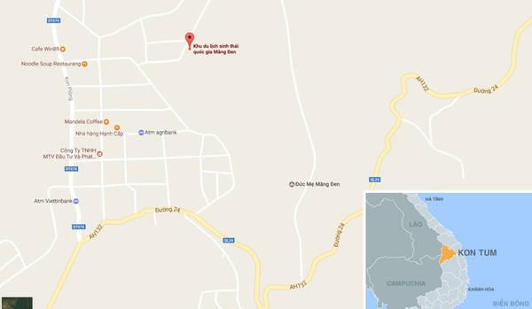 Khu du lịch sinh thái quốc gia Măng Đen (chấm đỏ) trên bản đồ.