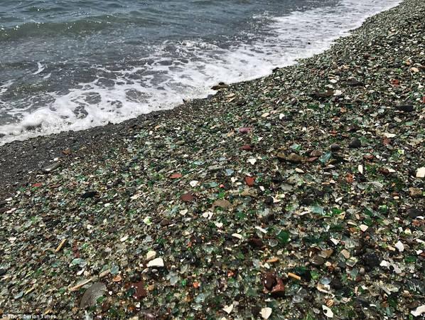 """Giáo sư thuộc Đại học Quốc gia Viễn Đông cho biết sóng, gió sẽ bào mòn dần vẻ ngoài lấp lánh của bãi biển. """"Có thể thấy rằng viên cuội thủy tinh hôm nay đã nhỏ hơn rất nhiều so với 20 năm trước"""", Petr Brovko nói. Ảnh: The Siberian Times.-bien-mat-ivivu-9"""