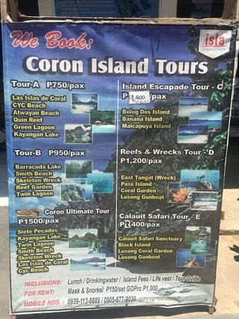 Lịch trình các Tour đảo có sẵn tại Coron