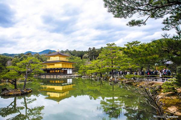 Chùa Vàng (Golden Pavillion) hay còn được gọi là chùa Kinkakuji được xây dựng từ thế kỷ 14 là một trong những điểm đến nổi tiếng bậc nhất tại đây. Chùa trước đây là nơi nghỉ của Tướng quân Yoshimitsu Ashikaga. Sau khi ngài mất, nơi đây được chuyển thành chùa. Hành cung nơi ngài ở được dát vàng lá nổi bật giữa núi rừng.
