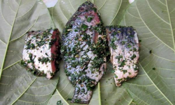 Lá vả non là nguyên liệu không thể thiếu cho món cá hấp - Ảnh: N.T.Lượng