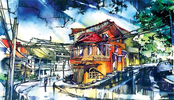 Nguyệt Vọng lầu qua tranh màu nước của tác giả Đặng Phan Lạc Việt. Ảnh: baolamdong.vn