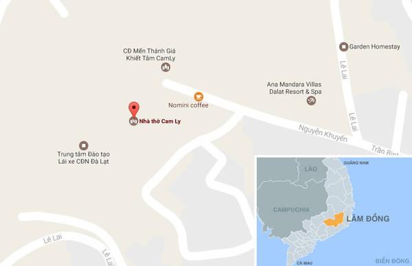 Nhà thờ Cam Ly (chấm đỏ) trên bản đồ. Ảnh: Google Map.m
