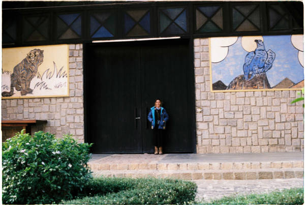 Trước cổng nhà thờ có hình hổ và đại bàng, tượng trưng cho sức mạnh, sự bảo vệ và vươn xa.