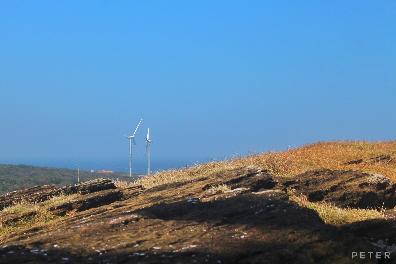Từ chùa Linh Sơn nhìn những cây quạt gió khổng lồ, cung cấp điện cho đảo.