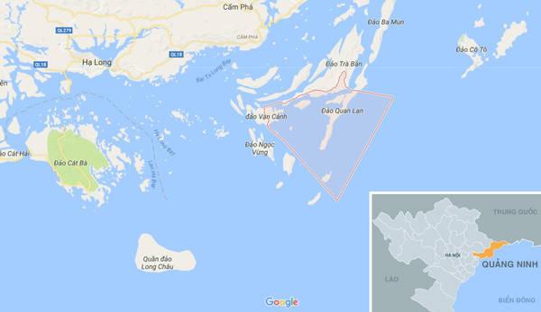 Vị trí biển Quan Lạn (màu đỏ) nằm trong vịnh Bái Tử Long, tỉnh Quảng Ninh.
