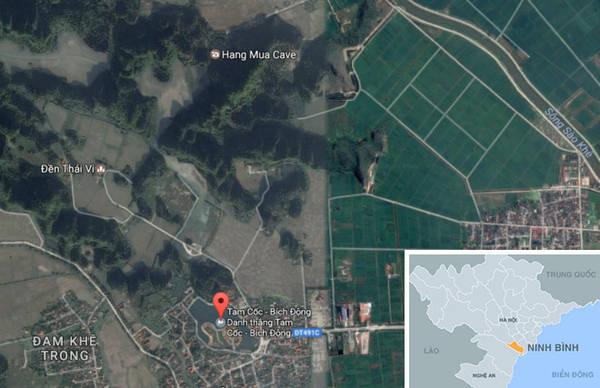 Bến thuyền Tam Cốc cách Hà Nội khoảng 100 km. Ảnh: Chụp màn hình.