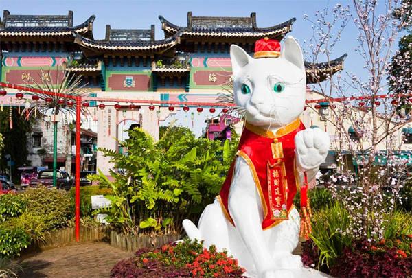 Bảo tàng Mèo nằm ở phía bắc Tòa thị chính thành phố Kuching đã khắc họa lịch sử 5.000 năm của loài mèo. Ảnh: Esme Fox