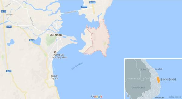 Vị trí làng chài Nhơn Hải (màu đỏ) trên bản đồ.