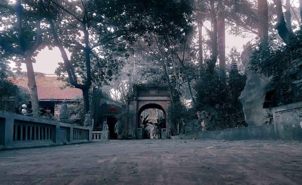 Cổng gỗ có 3 cửa, một cửa chính và hai cửa phụ, phía trên có một tum nhỏ lợp ngói đỏ, xung quanh được bài trí nhiều tượng đá và hoa văn trạm trổ tinh tế.