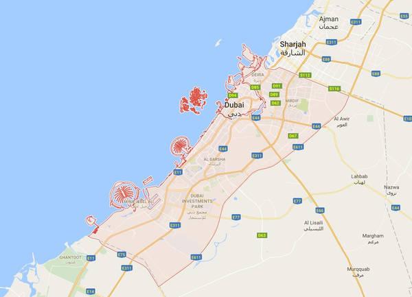 Thành phố Dubai (khu vực khoanh đỏ trên bản đồ) là một trong 7 tiểu vương quốc của Các Tiểu Vương quốc Ả rập Thống nhất, nằm ở phía nam vịnh Ba Tư. Ảnh chụp màn hình.