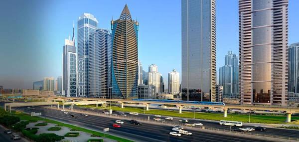 Phần lớn thành phố không cao như ta nghĩ: Dubai có 1.344 tòa cao ốc đã hoàn thiện, so với Hong Kong là 6.606 tòa và New York là 6.180 tòa. Thành phố này có tòa tháp cao nhất thế giới - Burj Khalifa (828 m). Đài phun nước Dubai cũng không phải đài cao nhất thế giới - xếp sau công trình của Vua Fahd ở Ả Rập Saudi. Dubai cũng không có tòa cư dân cao nhất thế giới. Tháp Princess của Dubai chỉ có 413 m, thua số 432 đại lộ Park 13 m. Ảnh: Citypremieredubai.