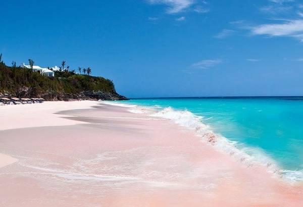 Bãi cát hồng trải dài 5 km, dòng nước luôn ấm áp giúp du khách có thể bơi và lặn bất cứ lúc nào.