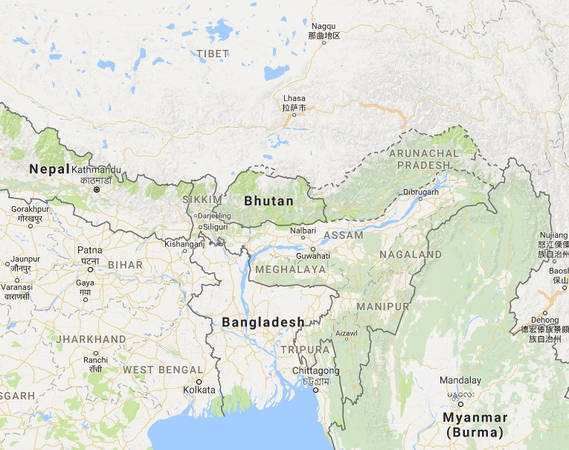 Vương quốc Bhutan nằm hoàn toàn trên dãy núi Himalaya, giáp Trung Quốc ở phía bắc và Ấn Độ ở phía nam. Ảnh chụp màn hình.