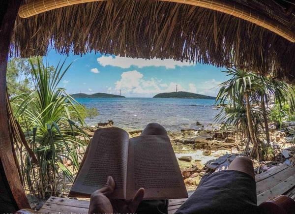Ban ngày, 2 anh em tôi loanh quanh trên đảo, ngồi đọc sách ở cửa những căn lều gỗ.