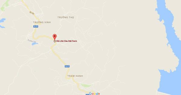Vị trí đồi chè Cầu Đất hiển thị nằm trên quốc lộ 20, thuộc xã Trường Thọ. Nếu từ trung tâm thành phố Đà Lạt, bạn đi thẳng theo đường Trần Hưng Đạo - Hùng Vương tầm hơn 20 km.