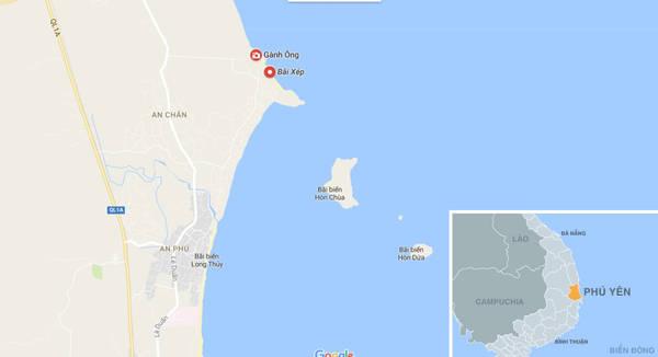 Bản đồ vị trí Gành Ông, Bãi Xép nằm trong địa phận xã An Chấn, huyện Tuy An, tỉnh Phú Yên.