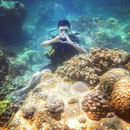 Khác với snorkeling chỉ quanh quẩn trên mặt nước hoặc xuống sâu chỉ vài mét là phải trồi lên để lấy oxy, ở trải nghiệm scuba diving này, bạn được trang bị một bộ đồ bảo hộ, đeo bình dưỡng khí và lặn xuống độ sâu 8-10 m để có cái nhìn cận cảnh những rạn san hô đẹp long lanh đầy màu sắc, nhìn những đàn cá tung tăng bơi lội ngay cạnh mình - điều tưởng chừng chỉ có trong giấc mơ.
